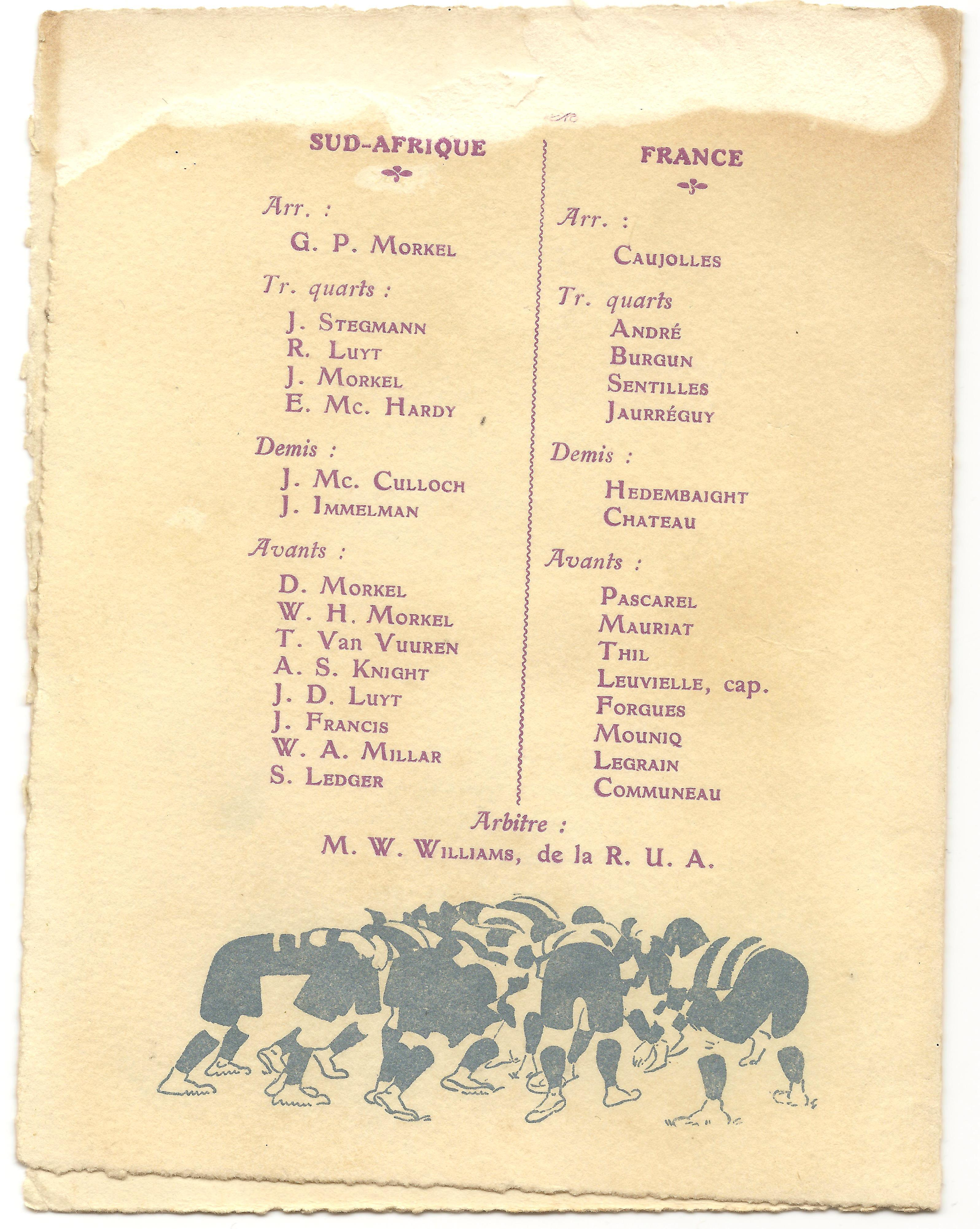1913 France v South Africa - Rugby Memorabilia Society (3)