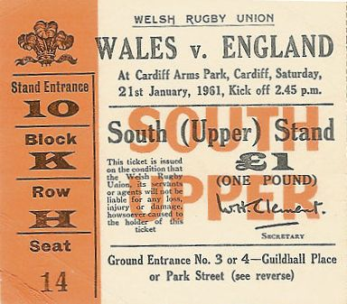 1961 Wales v England Ticket